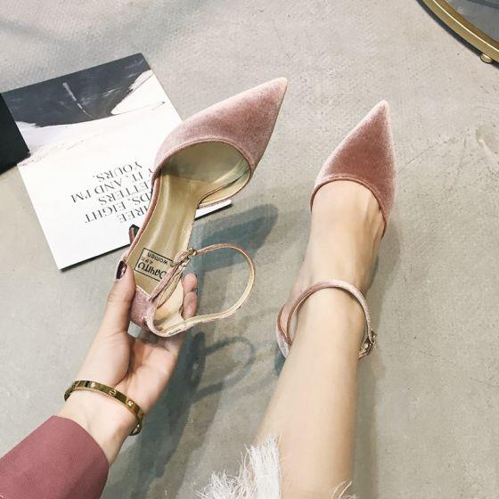 Fine Rødmende Rosa Dancing Suede Damesko 2020 Ankelstropp 10 cm Stiletthæler Spisse Hæler