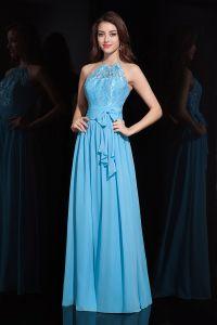 Magnifique Une-ligne Halter Rez-longueur Robe De Soirée En Dentelle Bleu
