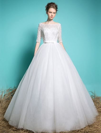 Billige Brudekjoler 2016 Elegante Firkantet Hals Beading Paljetter 1/2 Ermer Hvit Krusning Tyll Ballkjole Med Belte
