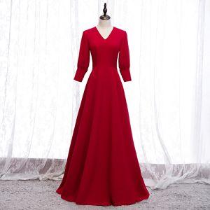 Modest / Simple Solid Color Red Evening Dresses  2020 A-Line / Princess V-Neck 3/4 Sleeve Floor-Length / Long Formal Dresses