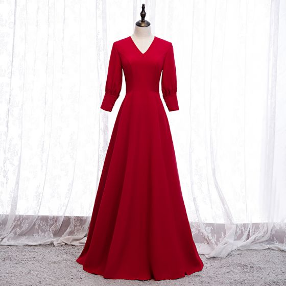 Modest / Simple Solid Color Red Evening Dresses  2020 A-Line / Princess V-Neck 3/4 Sleeve Floor-Length / Long Formal Dresses