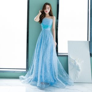 Chic / Beautiful Pool Blue Evening Dresses  2018 A-Line / Princess Lace Flower Rhinestone Sequins Strapless Backless Sleeveless Floor-Length / Long Formal Dresses