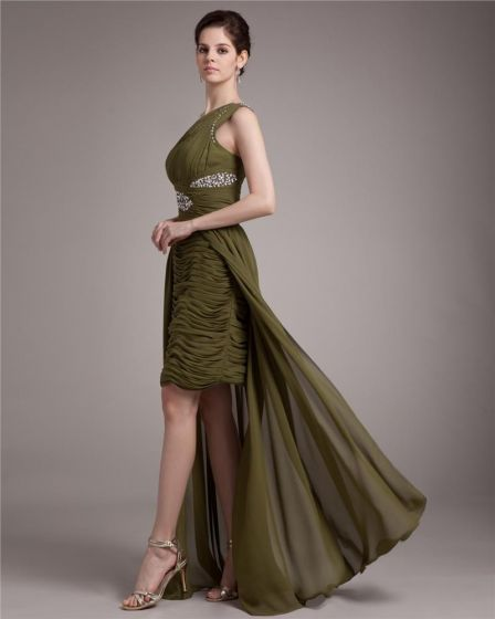 Elegant Sloping Ruffle Beading Asymmetrical Chiffon High Low Prom Dress