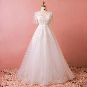 Chic / Beautiful White Chapel Train Wedding 2018 A-Line / Princess U-Neck Tulle Rhinestone Appliques Backless Beading Wedding Dresses