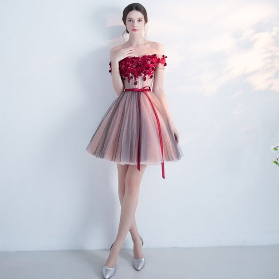 Modern / Fashion Party Dresses 2017 Graduation Dresses Multi-Colors Short Ball Gown Off-The-Shoulder Backless Short Sleeve Lace Appliques