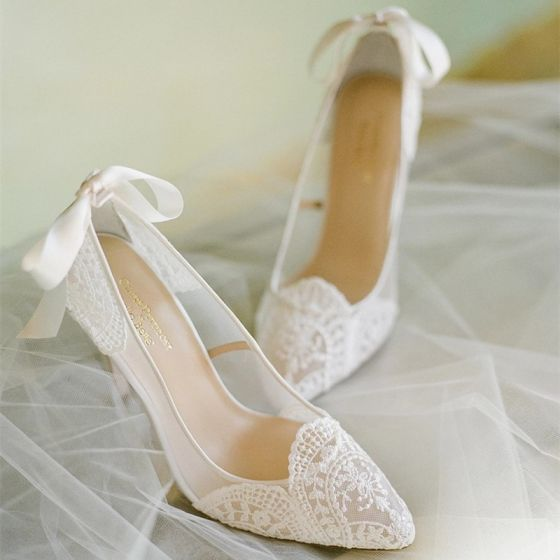 Elegant Ivory Lace Wedding Shoes 2020 Bow 6 cm Stiletto Heels Pointed Toe Wedding Pumps
