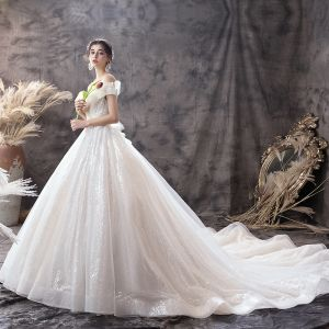 Classy Champagne Wedding Dresses 2019 Ball Gown Off-The-Shoulder Short Sleeve Beading Sequins Backless Bow Cathedral Train