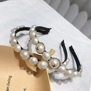 Elegant Ivory Pearl Hair Hoop Bridal Hair Accessories 2020 Metal Headpieces Wedding Accessories