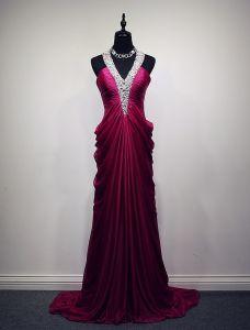 Glitzerndes Abendkleider 2016 A-line Halfter Perlen Pailletten Seidenchiffon Rückenfrei Langes Kleid Kräuseln