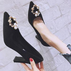 Chic / Beautiful Black Street Wear Pumps 2020 Pearl Rhinestone 8 cm Stiletto Heels Pointed Toe Pumps