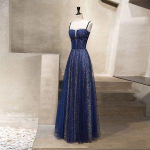 Sternenklarer Himmel Königliches Blau Abendkleider 2019 A Linie Spaghettiträger Ärmellos Glanz Pailletten Lange Rüschen Rückenfreies Festliche Kleider