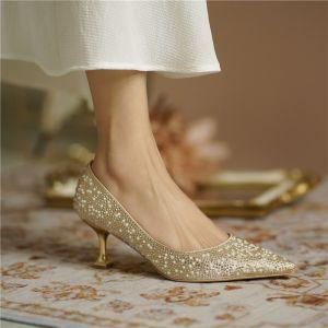 Błyszczące Złote Perła Rhinestone Buty Ślubne 2020 Skórzany 6 cm Szpilki Szpiczaste Ślub Czółenka