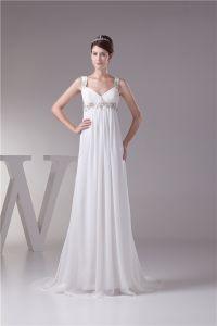 Charmig Imperium V-ringad Remmar Beading Applikationer Bröllopsklänning Brudklänning