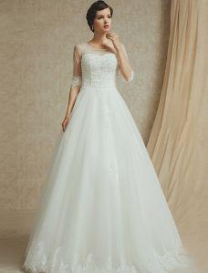 2015 A-linie Schultern Quadratischen Ausschnitt 1/2 Ärmel Sicken rückenfrei Hochzeitskleid
