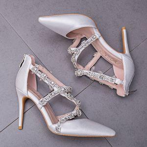 Elegante Witte Bruidsschoenen 2018 Rhinestone X-Strap 9 cm Naaldhakken / Stiletto Spitse Neus Huwelijk Pumps