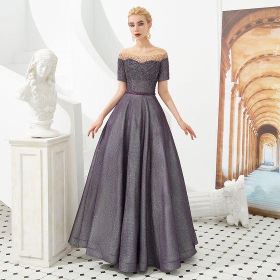 High-end See-through Grape Evening Dresses  2020 A-Line / Princess Scoop Neck Short Sleeve Glitter Polyester Handmade  Beading Sash Floor-Length / Long Backless Formal Dresses