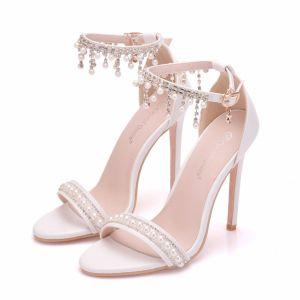 Charmant Blanche Chaussure De Mariée 2018 Perle Faux Diamant Gland Bride Cheville 11 cm Talons Aiguilles Peep Toes / Bout Ouvert Mariage Talons Hauts