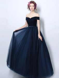 Vintage Navy Blue Evening Dress Pleated Tulle Off The Shoulder Long Dress