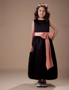 Black Sleeveless Sash Satin Flower Girl Dress