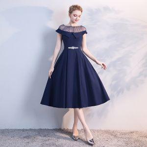 Chic / Beautiful Navy Blue See-through Evening Dresses  2018 A-Line / Princess Scoop Neck Short Sleeve Rhinestone Sash Tea-length Ruffle Formal Dresses