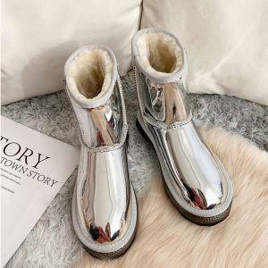Fantastiske / Unike Sølv Snow Boots 2020 Ull Patent Lær Casual Hage / utendørs Vinter Flate Rund Tå Kvinners støvler