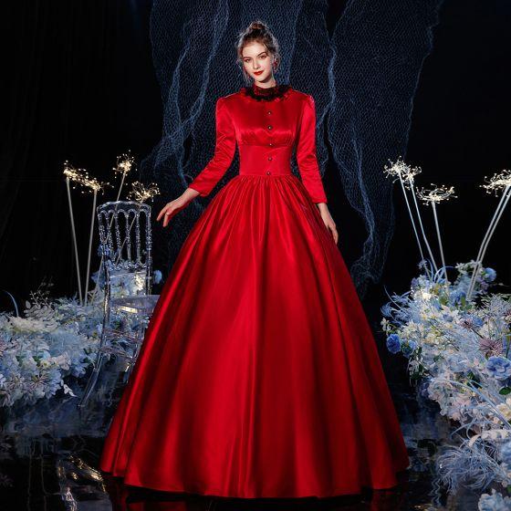 Vintage Mittelalterlich Gotische Rot Ballkleid Ballkleider 2021 Stehkragen Reißverschluss Lange Ärmel Lange Schnalle Spitze Cosplay Ball Festliche Kleider