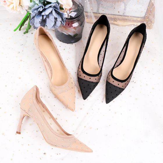 Chic / Beautiful Black Pierced Casual Pumps 2020 Lace 7 cm Stiletto Heels Pointed Toe Pumps