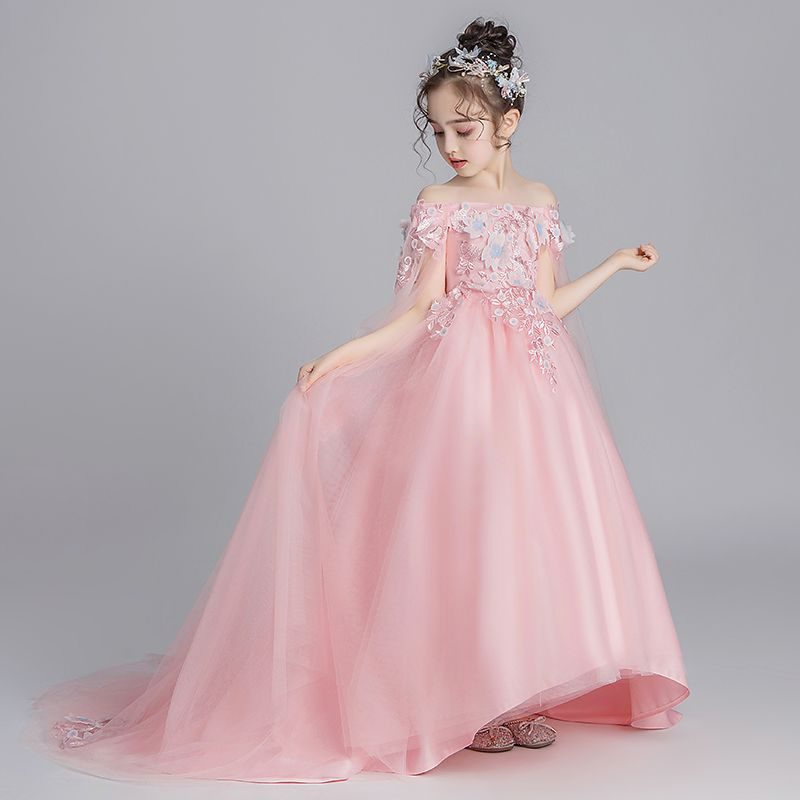 Flower Fairy Pearl Pink Flower Girl Dresses 2019 A-Line / Princess Off-The-Shoulder Short Sleeve Appliques Lace Watteau Train Ruffle Backless Wedding Party Dresses
