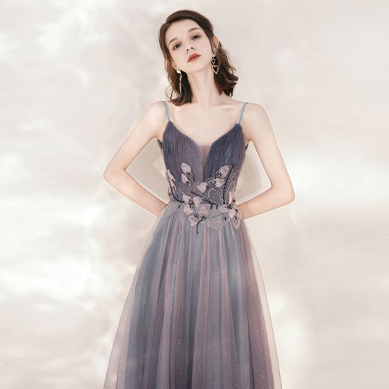 Charming Purple Evening Dresses  2020 A-Line / Princess Spaghetti Straps Sleeveless Appliques Lace Beading Glitter Tulle Floor-Length / Long Ruffle Backless Formal Dresses
