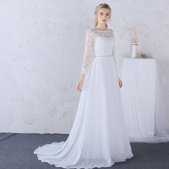 hermoso playa vestidos de novia 2017 blanco a-line / princess largos