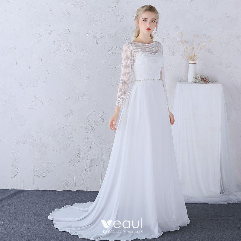Vestido de novia blanco manga larga