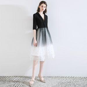Chic / Beautiful Black Homecoming Graduation Dresses 2020 A-Line / Princess V-Neck Star Sequins Bow 1/2 Sleeves Knee-Length Formal Dresses