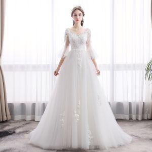 Elegant Ivory Wedding Dresses 2019 A-Line / Princess V-Neck Lace Flower Bell sleeves Backless Sweep Train