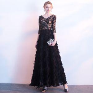 Hermoso Negro Vestidos de noche 2017 A-Line / Princess De Encaje V-Cuello Sin Espalda Traspasado Lentejuelas Noche Vestidos Formales