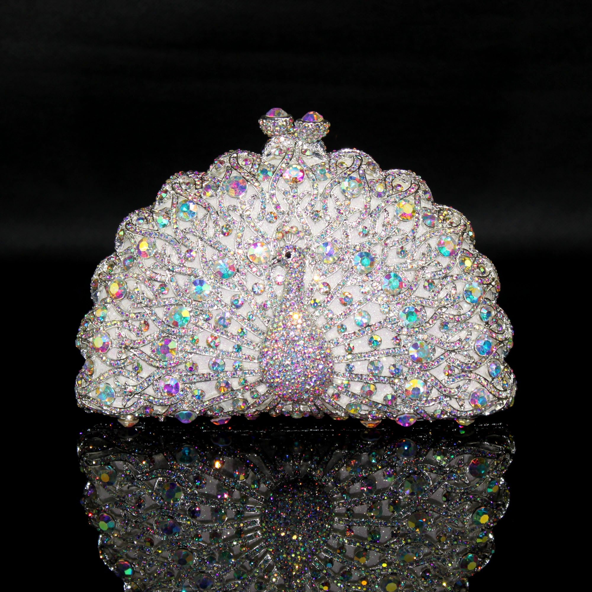 Sparkly Bling Bling Silver Clutch Bags Beading Rhinestone Handmade  Leather Wedding Cocktail Party Evening Party Accessories 2019