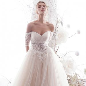 Chic / Beautiful Ivory Wedding Dresses 2019 A-Line / Princess Off-The-Shoulder Beading Lace Flower Short Sleeve Backless Floor-Length / Long