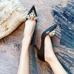 Charming Black Evening Party Pumps 2020 Satin Pearl Rhinestone 8 cm Stiletto Heels Pointed Toe Pumps