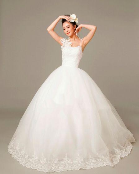 Applique Sicke Spaghettiträgern Tulle-ballkleid Hochzeitskleid Brautkleid