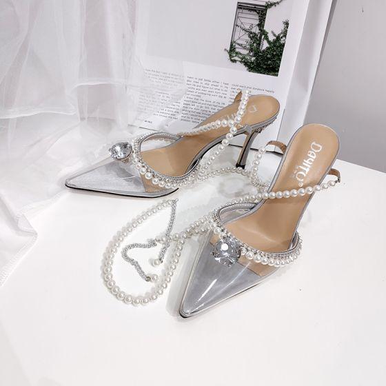 Charmerende Sølv Rhinestone Fest Sandaler Dame 2020 Perle Ankel Strop 9 cm Stiletter Spidse Tå Sandaler