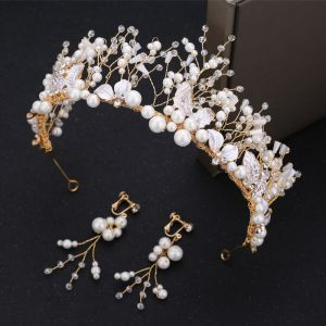 Chic / Beautiful Gold Bridal Jewelry 2019 Metal Tiara Earrings Ivory Pearl Crystal Rhinestone Beading Wedding Accessories