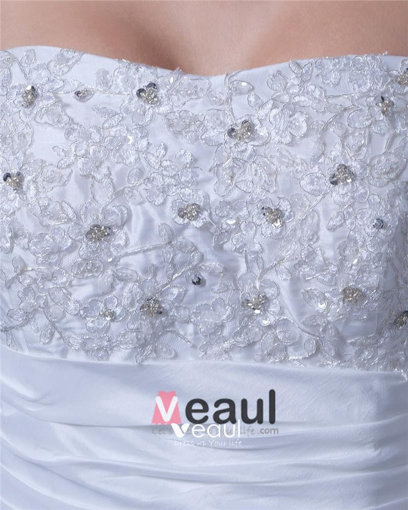 Beading Applique Ruffles Taffeta Lace Satin Sleeveless Strapless Cathedral Train Ball Gown Wedding Dress