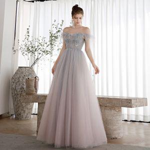 Eleganckie Błękitne Gradient-Kolorów Rumieniąc Różowy Taniec Sukienki Na Bal 2020 Princessa Przy Ramieniu Kótkie Rękawy Frezowanie Cekinami Tiulowe Długie Wzburzyć Bez Pleców Sukienki Wizytowe