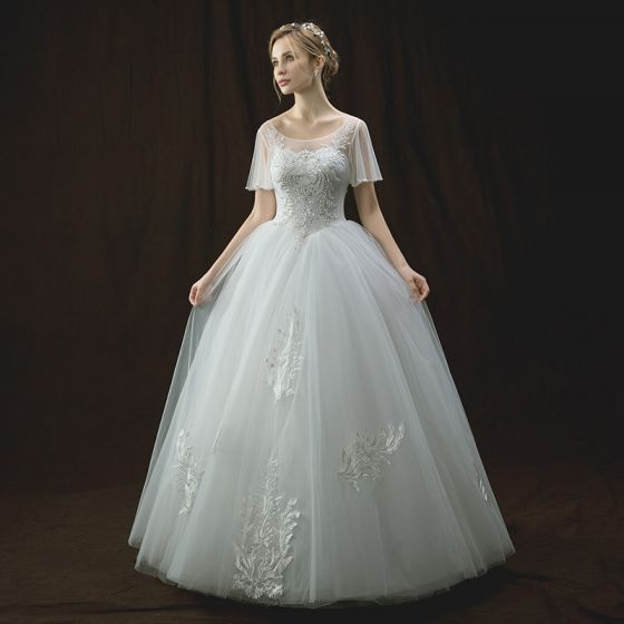 Chic / Beautiful Ivory See-through Wedding Dresses 2018 Ball Gown Scoop Neck Short Sleeve Backless Appliques Lace Sequins Pearl Beading Floor-Length / Long Ruffle
