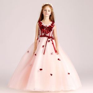 Chic / Beautiful Pearl Pink Flower Girl Dresses 2017 Ball Gown V-Neck Sleeveless Appliques Flower Sash Floor-Length / Long Ruffle Wedding Party Dresses