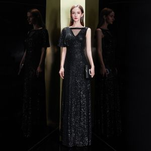 Sparkly Black Sequins Evening Dresses  2020 Trumpet / Mermaid Square Neckline One-Shoulder Short Sleeve Floor-Length / Long Ruffle Backless Formal Dresses