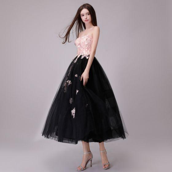 Chic / Belle Noire Rougissant Rose Robe De Soirée 2018 Princesse En Dentelle Appliques Perle Amoureux Dos Nu Sans Manches Thé Longueur Robe De Ceremonie