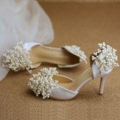 Schöne Weiß Brautschuhe 2019 Perle Strass 8 cm Stilettos Spitzschuh Hochzeit Hochhackige