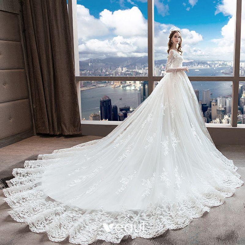 White Backless Lace Mermaid Wedding Dresses 2018 V Neck: Chic / Beautiful White Wedding Dresses 2018 A-Line