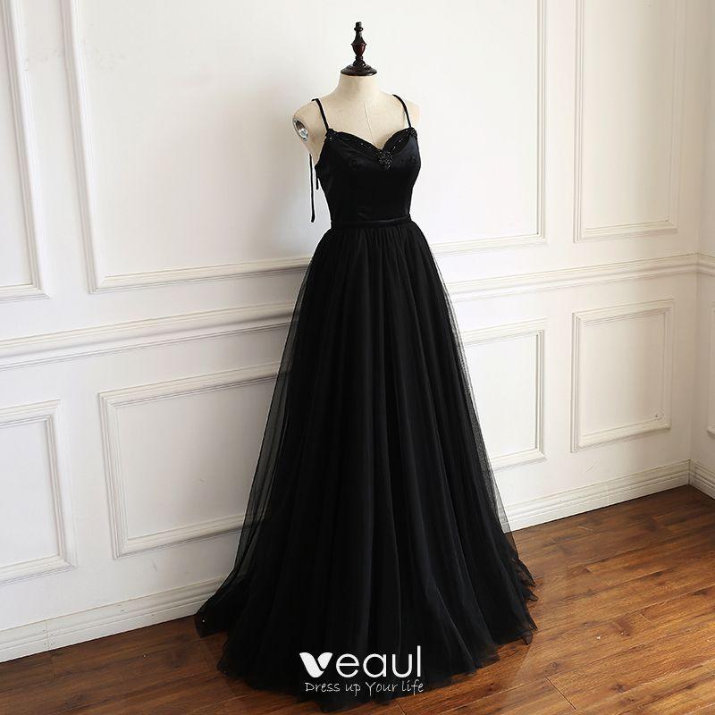 Simple Noire Robe De Bal 2019 Princesse Bretelles Spaghetti Perlage Sans Manches Dos Nu Noeud Longue