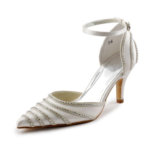 a7cfe86b64 Sparkle Pointed Toe Mid Heels Ivory Satin Sandals Wedding Shoes With  Rhinestone